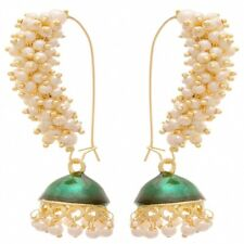 Indian Ethnic Designer Gold Plated Pearl Green Traditional Meenakari Earrings