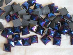 Full package of 72 Preciosa square flatbacks in 10mm Purple iridescent. #59135