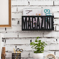 MyGift Matte Black Metal Wall Mounted or Tabletop MAGAZINE Cutout Display Rack