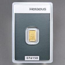 1g Gramm Goldbarren ?HERAEUS? Feingold 999.9 mit Zertifikat in Blister