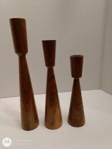Vintage Mid Century Modern Wood Candle Holders Set Of Three Danish Modern