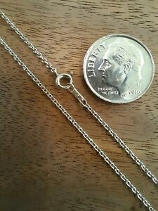 """19"""" 14K White Gold 1.2mm Rolo Chain Necklace - 2.090 grams Excellent Condition"""