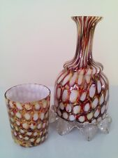 Art glass Victorian water carafe + tumbler Stourbridge / Welz era