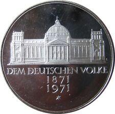 """J409  5 DM Gedenkmünze Reichsgründung von 1971 in PP VARIANTE """"ohne Fenster"""" 607"""