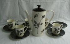 More details for lord nelson pottery coffee set black rose coffee pot & lid 5 cups 6 black saucer