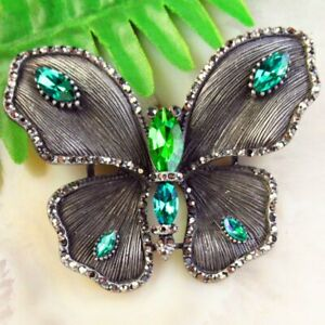 Green Titanium Crystal Carved Tibetan Silver Butterfly Pendant Bead Brooch BL48