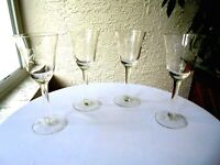 "Set of 4 Clear Cordial Glasses 6"" Tall"