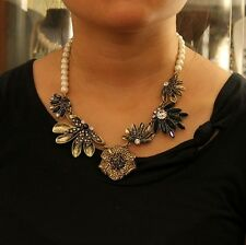 Collar Perla Cristal Amarillo Utilizando Azul Retro Moderno Original Matrimonio