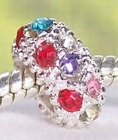 Multi-Color Rhinestone Colorful Spacer Charm for Silver European Bead Bracelets