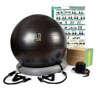 Gearrific Workout Ball Set: Exercise Ball,Black Resistance Bands, Workout Poster