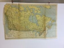 RARE / ANTIQUE  COLORED MAP of DOMINION of CANADA & New Foundland. Dated 1921