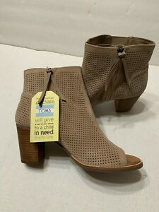 TOMS Womens Majorca Stucco Suede Perforated Peep Toe Mid Calf Boot Size 11