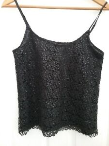 New Look Ladies Black Glitsy Sequined Cami Evening Party Top Size 8 Excellent Co