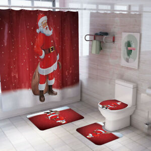 3PCS Christmas Santa Toilet Seat Cover Rug Bathroom Anti-slip Bath Mat Decor Set