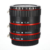 New Red Auto Focus AF TTL Macro Extension Tube Ring Set For Canon EF EFS Lens
