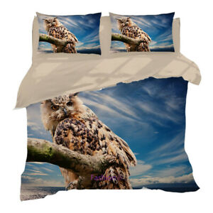 Owl Stare Doona Duvet Quilt Cover Set Single/Double/Queen/King Size Bed Linen