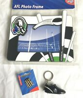 COLLINGWOOD MAGPIES AFL FOOTY PHOTO FRAME + BOOT KEY RING + GUERNSEY PIN BADGE