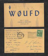 1949 WØUFD QSL CARD USED OMAHA NEBRASKA USA