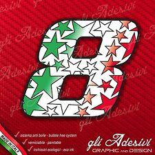 Adesivo Stickers NUMERO 8 moto auto cross gara STAR Verde Bianco Rosso Tricolore