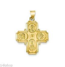 14K Gold 4 Four way medal Pendant Medal St Christopher Miraculous Joseph 1 inch