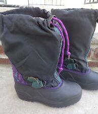 "Sorel Girl Boy Black Purple Winter Snow Boots Size 2 Youth Liner Foot 8"" Nj"