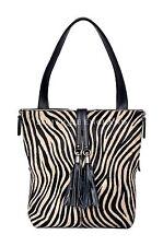 NUOVO Donna Lusso Nero Vera Pelliccia Di Mucca Zebra Print in Pelle Tracolla Borsetta