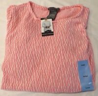 Womens Chelsea & Theodore Light Pink White Long Sleeve Textured Knit Top Sweater
