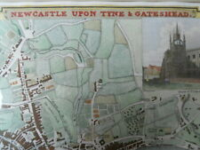 Map, Newcastle & Gateshead, G Cole & J Roper, 1808,  Antique Original, Framed *