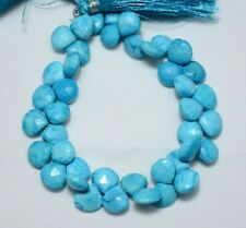 Turquoise Howlite 10MM Faceted Heart Gemstone Briolette Beads 8 Inch Strand