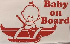 "9"" Hawaiian Boy Baby On Board Outrigger Canoe Red Vinyl Car Home Decal Sticker"