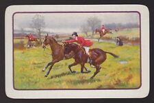 1 Single VINTAGE Swap/Playing Card ENGLISH HUNT HORSES DOGS ID HH-3-5 White