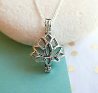 Sterling Silver Lotus Flower Cage Pendant Necklace - UK Seller