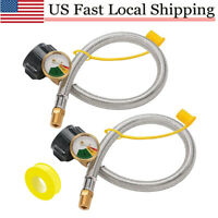 "2Pack Male 1/4"" NPT/QCC1 RV Propane Pigtail Hoses with Gauge for Propane Tank"