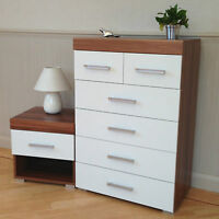 4+2 Chest of Drawers & Bedside Table in White & Walnut Bedroom Furniture 6 *NEW*
