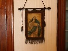 ANTIQUE FLAG BANNER PAINTING OUR LADY IMMACULATE GOLD THREAD EMBROIDERED