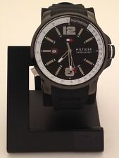 TOMMY HILFIGER STAINLESS SPORT BLACK WATCH WITH BLACK SILICON BAND 1791221