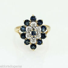 Antique 2.00 Ct. Sapphire & 0.12 Ct. Diamond Cocktail Ring 14K Yellow Gold Us7.5