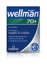 Vitabiotics Wellman 70+ Health Vitality Vision & Immune Improvement - 30 Tabs