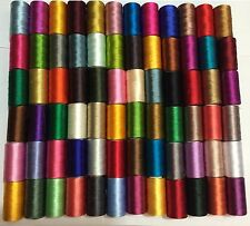 100 x Large Art Silk Rayon 100% Sewing Embroidery Threads Vibrent Solid Colours