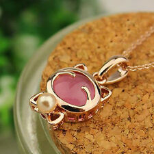 Women's Cute Pink White Cat Crystal Chain Pendant Necklaces Gold Plated YJ