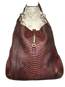 Gucci Cranberry Snakeskin Elongated Hobo With Gold Hardware