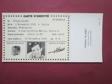 RARE CARTE  IDENTITE PUBLICITAIRE N° 14 FRANK ALAMO 1966 ETAT NEUF