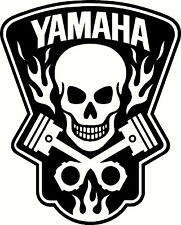 yamaha decal skull in flames vinyl decals window sticker or bumper stickers