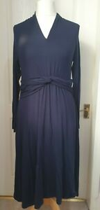PURE COLLECTION Size 16 Navy Blue Dress With Gathered Twist Detail To Waist