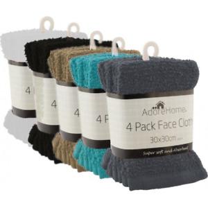 New 4 Pack cotton face towels cloth flannels wash cloths  super soft 30x30 cm