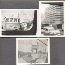 Lot of 3 Unusual Vintage Photos Car Window View of Buses & Trucks 745593