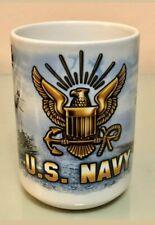 New listing New Us Navy White Ceramic Mug with Us Navy Logo, Air And Sea Scenes, Nice Mug!