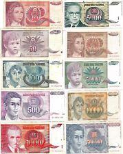 LOTE DE 10 BILLETES DE YUGOSLAVIA DE 10 VALORES DIFERENTES BILL. CIRCULADOS