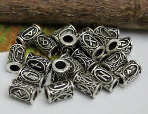 Bartperle Runen 5 mm Wikinger Bartschmuck Haar Perle + 10 schwarze Gummis