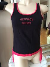 Versace Sport Womens Top 100% Aiyhentic Size M Blk W Red Ties